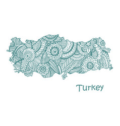 Textured map of turkey hand drawn ethno vector