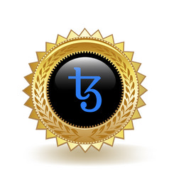 Tezos cryptocurrency coin gold badge vector