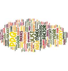 The pdq factor text background word cloud concept vector