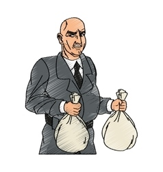 Thief cartoon with money bag design vector image