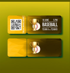ticket with tear-off coupon on baseball vector image