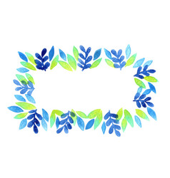 Tropical blue fern and leaves wreath watercolor vector