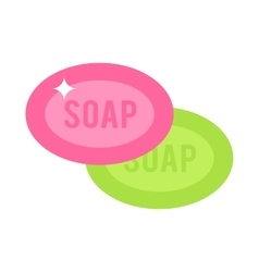 Two pink and green pieces soap cartoon flat vector