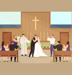 Wedding ceremony in church vector