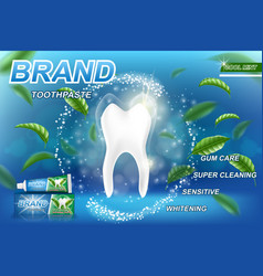 Whitening toothpaste ads mint leaves background vector