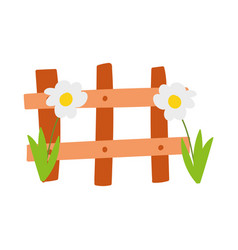 wooden fence flowers farm protection cartoon vector image
