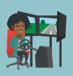 Young african woman playing car racing video game vector