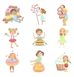 Kids And Giant Sweets Set vector image vector image