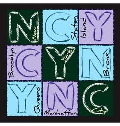 NYC print design district 2 vector image vector image