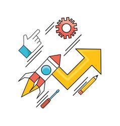 Set data process with teamwork development process vector
