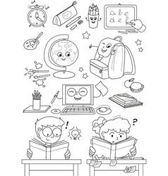 Coloring school elements for little kids vector image vector image