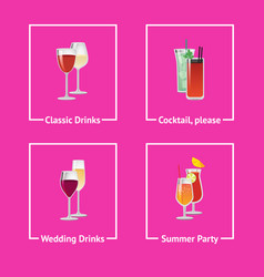 alcohol drinks and cocktails for wedding and party vector image