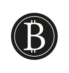 bitcoin sign black icon on vector image