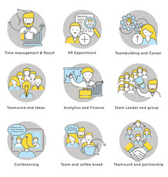 linear teamwork icons set vector image vector image