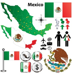 Mexico map with regions vector image vector image