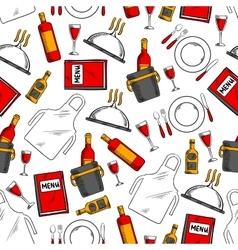 Restaurant service seamless pattern background vector image