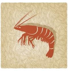 shrimp old background vector image vector image