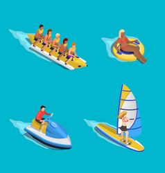 water riding people set vector image vector image