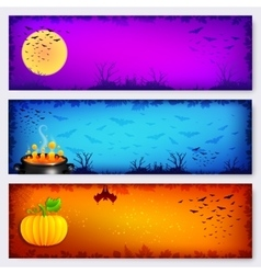 Colorful Halloween banners backgrounds set vector image