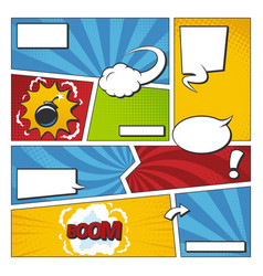 comic book frame set with speech bubbles vector image