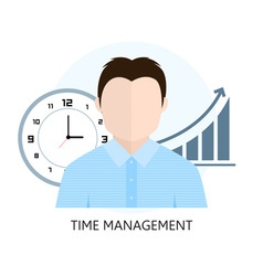 Flat design colorful concept for time management vector image vector image
