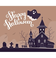 halloween of haunted house cemetery bats o vector image vector image