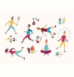 people sport activities dieting fitness and vector image vector image