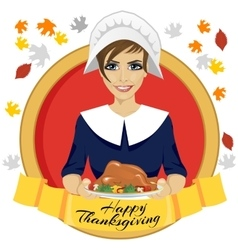 pilgrim woman holding a roasted turkey vector image