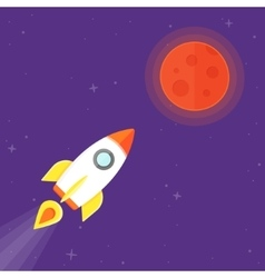 Rocket and Mars Planet vector image vector image