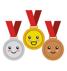 Set championship medals comic characters vector