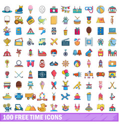 100 free time icons set cartoon style vector