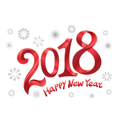 2018 happy new year design modern red text design vector image