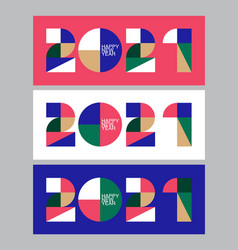 2021 new year banner 3d bright colors minimal vector