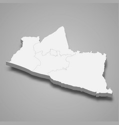 3d isometric map yogyakarta is a province of vector image