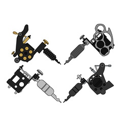 4 tattoo machines set vector image