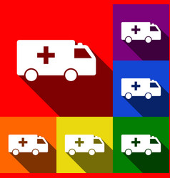 ambulance sign set of icons vector image