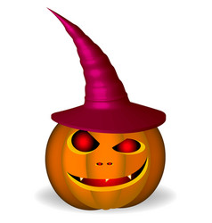 an evil pumpkin with a hat on a white background vector image