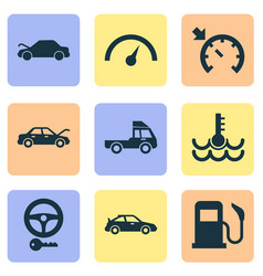 auto icons set with key sports automobile auto vector image
