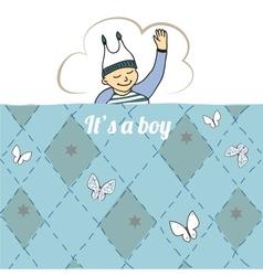 Baby shower card with little boy sleep vector