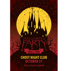 Banner for halloween with old gothic castle vector