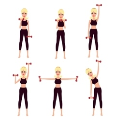 Beautiful girl doing complex of physical workouts vector image