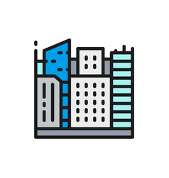 Big city megapolis landscape flat color line icon vector