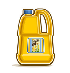 big yellow plastic bottle with canola oil vector image