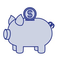Blue silhouette of moneybox in shape of pig and vector