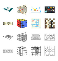 board game cartoonoutline icons in set collection vector image