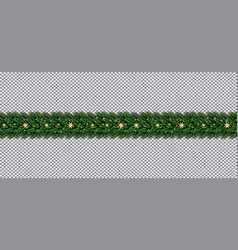 Border with christmas tree branches and golden vector