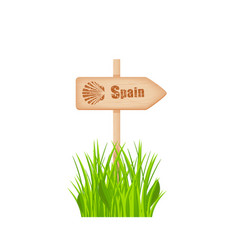 Camino de santiago route sign on pole vector