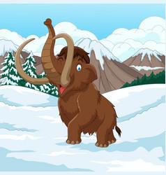 cartoon woolly mammoth walking through a snowy fie vector image