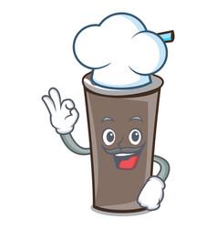 chef ice chocolate character cartoon vector image