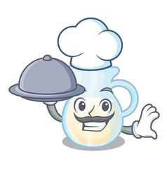 Chef with food milk jug completely filled with vector